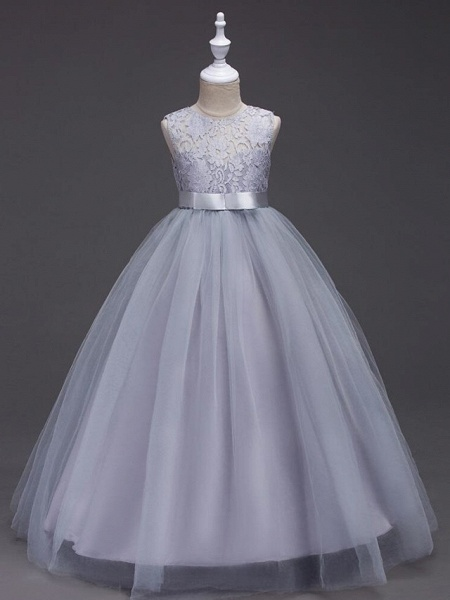 Princess Long Length Wedding / First Communion Flower Girl Dresses - Lace / Tulle Sleeveless Jewel Neck With Lace / Bow(S) / Embroidery_12
