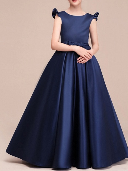 A-Line Floor Length Pageant Flower Girl Dresses - Polyester Cap Sleeve Jewel Neck With Ruching_1
