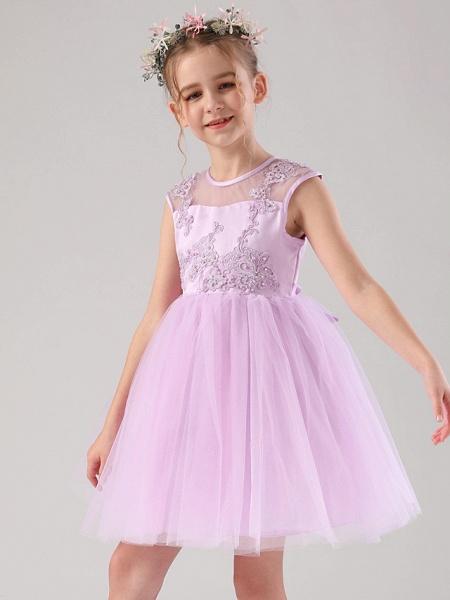 Princess / Ball Gown Medium Length Wedding / Birthday Flower Girl Dresses - Satin / Tulle Sleeveless Jewel Neck With Beading / Appliques / Solid_4