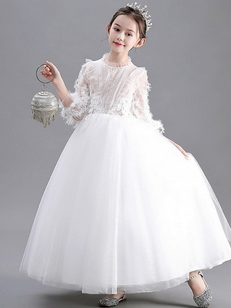 Ball Gown Floor Length Wedding / Party Flower Girl Dresses - Lace / Tulle Long Sleeve Jewel Neck With Appliques_2