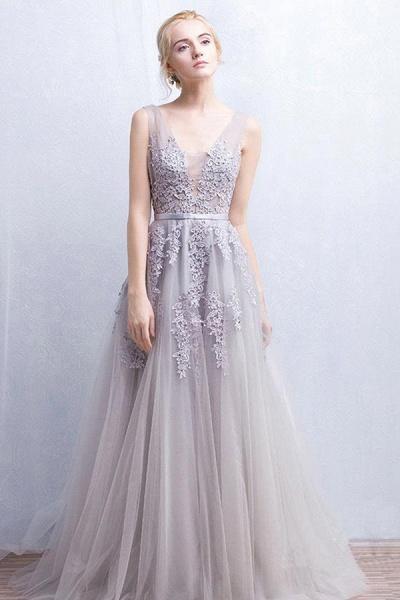 Fabulous V-neck Tulle A-line Evening Dress_10