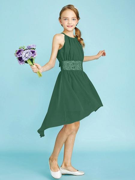 Sheath / Column Jewel Neck Asymmetrical Chiffon Junior Bridesmaid Dress With Sequin / Natural_46