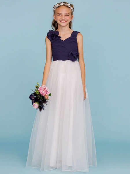 Princess / A-Line Straps Floor Length Chiffon / Tulle Junior Bridesmaid Dress With Criss Cross / Ruched / Flower / Color Block / Floral / Wedding Party_4