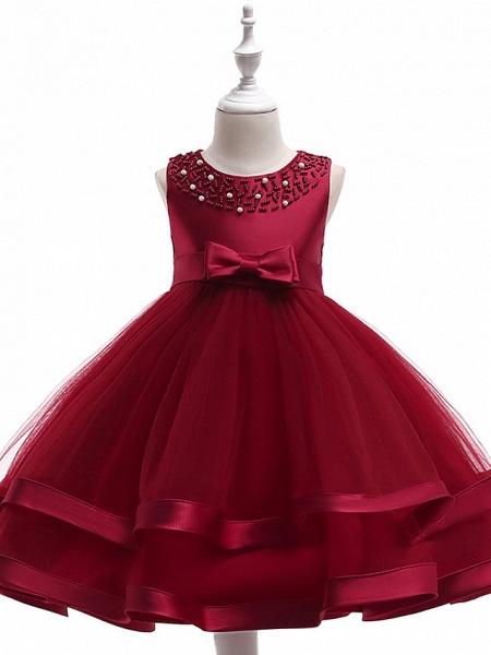 A-Line Knee Length Wedding / Birthday / Pageant Flower Girl Dresses - Cotton Blend Sleeveless Jewel Neck With Sash / Ribbon / Pearls / Trim_7