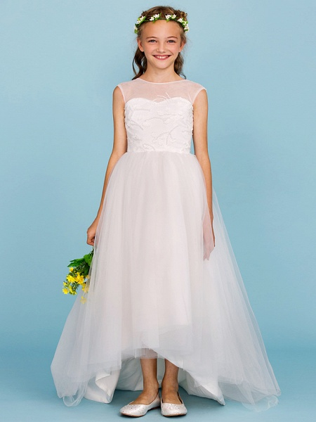 Ball Gown Crew Neck Asymmetrical Tulle Junior Bridesmaid Dress With Beading / Wedding Party / Open Back_3