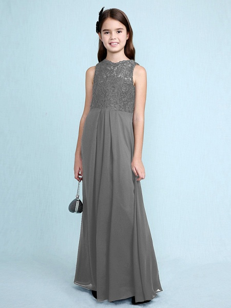 Sheath / Column Scoop Neck Floor Length Chiffon / Lace Junior Bridesmaid Dress With Lace / Natural_28