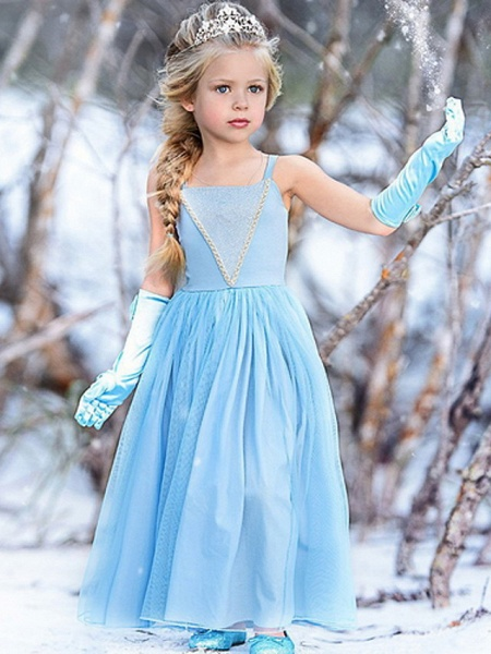 A-Line Floor Length Event / Party / Birthday Flower Girl Dresses - Cotton Sleeveless Spaghetti Strap With Trim_1