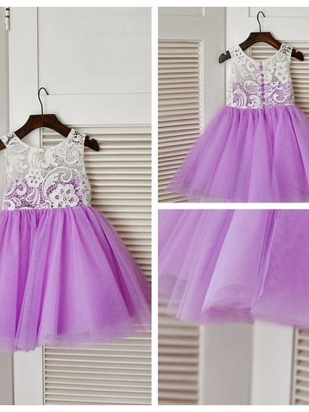A-Line Knee Length Pageant Flower Girl Dresses - Lace / Tulle Sleeveless Jewel Neck With Lace / Pleats_10
