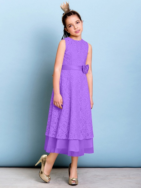 A-Line Jewel Neck Tea Length All Over Floral Lace Junior Bridesmaid Dress With Sash / Ribbon / Bow(S) / Flower / Natural_30