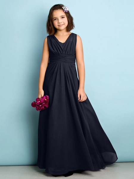 A-Line V Neck Floor Length Chiffon Junior Bridesmaid Dress With Criss Cross / Natural / Mini Me_35