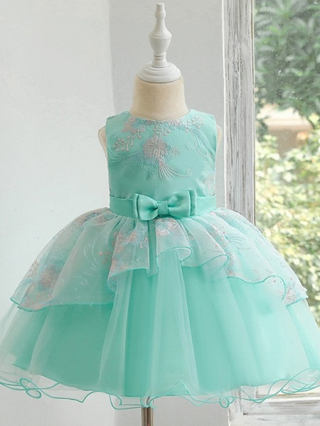 Princess / Ball Gown Knee Length Wedding / Party Flower Girl Dresses - Tulle Sleeveless Jewel Neck With Bow(S) / Tier_7