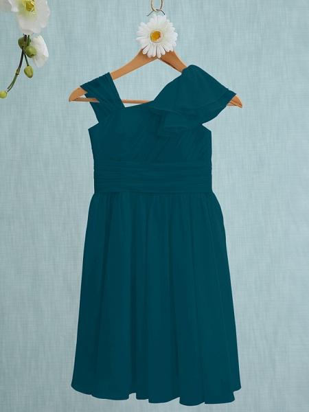 Sheath / Column Straps Knee Length Chiffon Junior Bridesmaid Dress With Ruffles / Side Draping / Natural_34