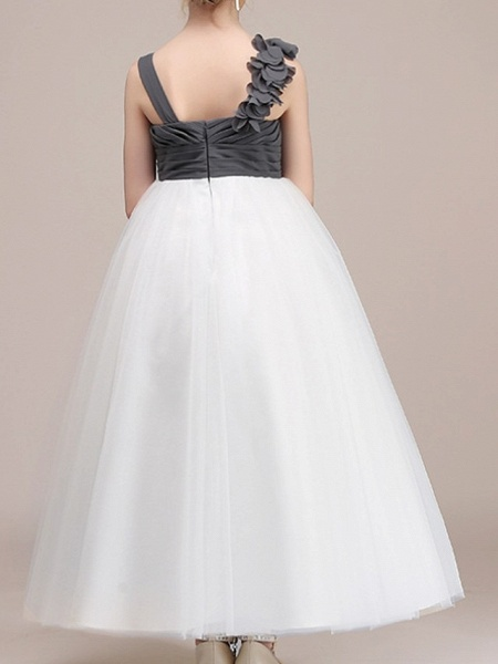 Ball Gown Floor Length Pageant Flower Girl Dresses - Polyester Sleeveless Spaghetti Strap With Color Block_4