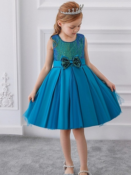 Princess / Ball Gown Knee Length Wedding / Party Flower Girl Dresses - Tulle Sleeveless Jewel Neck With Sash / Ribbon / Bow(S) / Paillette_2