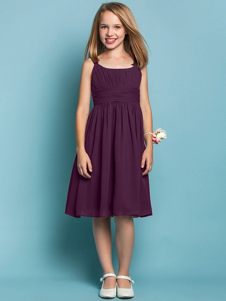 Sheath / Column Straps Knee Length Chiffon Junior Bridesmaid Dress With Ruched / Draping / Spring / Summer / Fall / Apple / Hourglass_16
