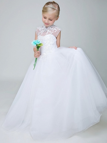 Ball Gown Ankle Length Wedding / First Communion Flower Girl Dresses - Tulle Sleeveless High Neck With Beading / Appliques_2