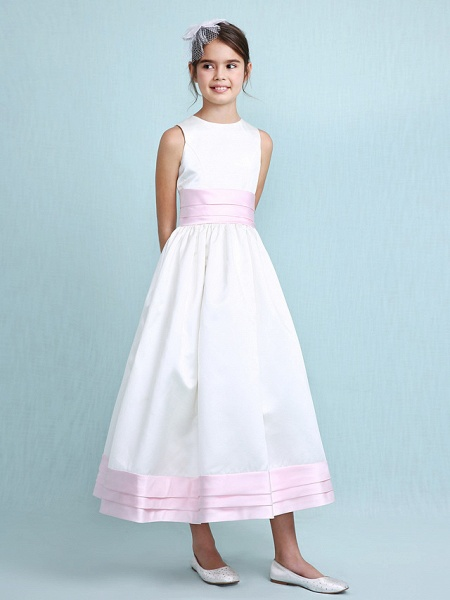 Princess / A-Line Jewel Neck Knee Length Satin Junior Bridesmaid Dress With Sash / Ribbon / Ruched / Ruffles / Spring / Summer / Fall / Winter / Wedding Party_5
