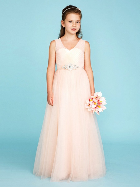 Princess / A-Line V Neck Floor Length Tulle Junior Bridesmaid Dress With Criss Cross / Crystals / Wedding Party_4