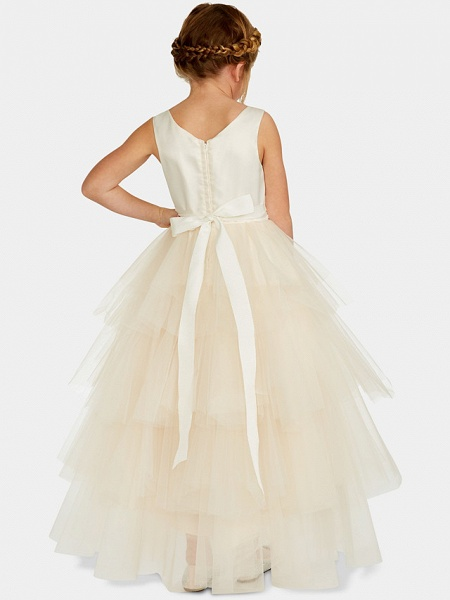 Ball Gown Asymmetrical Wedding / Party Flower Girl Dresses - Satin / Tulle Sleeveless Jewel Neck With Pleats / Tier / Solid_4