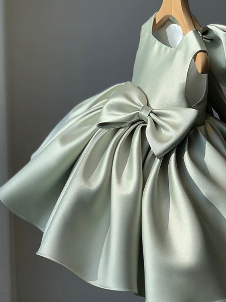 Princess / Ball Gown Short / Mini Wedding / Party Flower Girl Dresses - Satin Sleeveless Square Neck With Bow(S) / Pleats_1