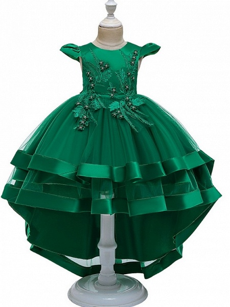 A-Line Asymmetrical Pageant Flower Girl Dresses - Tulle Sleeveless Jewel Neck With Bow(S) / Beading / Tier_6
