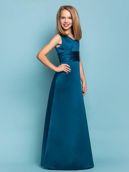 Sheath / Column V Neck Floor Length Satin Junior Bridesmaid Dress With Sash / Ribbon / Criss Cross / Ruched / Spring / Summer / Fall / Apple / Hourglass_2