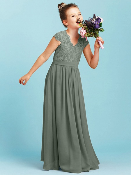 Princess / A-Line V Neck Floor Length Chiffon / Lace Junior Bridesmaid Dress With Sash / Ribbon / Pleats / Wedding Party_32