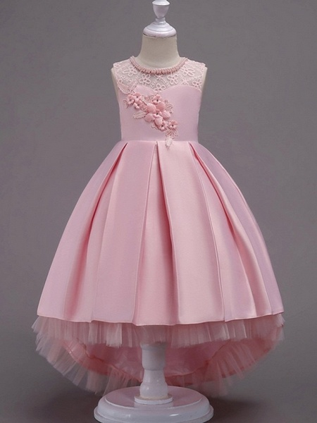 A-Line Asymmetrical Pageant Flower Girl Dresses - Satin Sleeveless Jewel Neck With Lace / Bow(S) / Beading_6