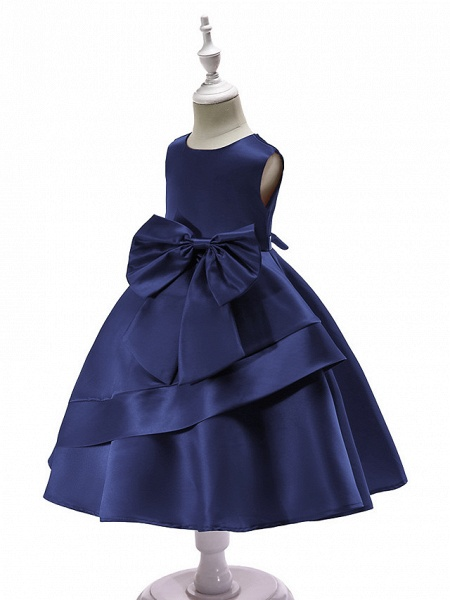Ball Gown Knee Length Wedding / Party Flower Girl Dresses - Tulle Sleeveless Jewel Neck With Bow(S) / Tier_3