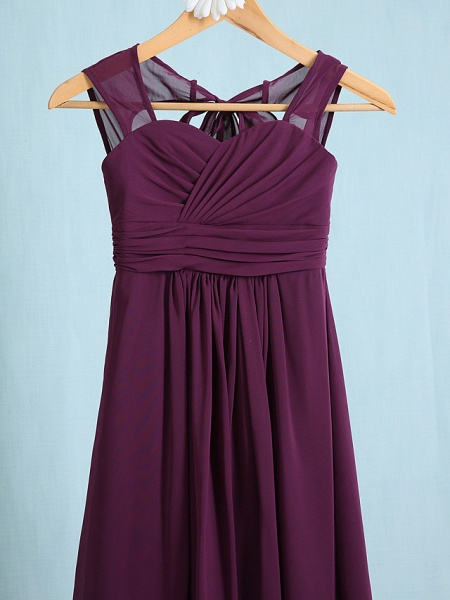 Sheath / Column Straps Ankle Length Chiffon Junior Bridesmaid Dress With Ruched / Natural_3