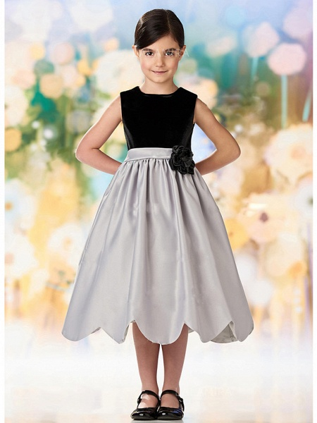 A-Line Ankle Length Wedding / Party Flower Girl Dresses - Satin / Velvet Sleeveless Jewel Neck With Ruching_3