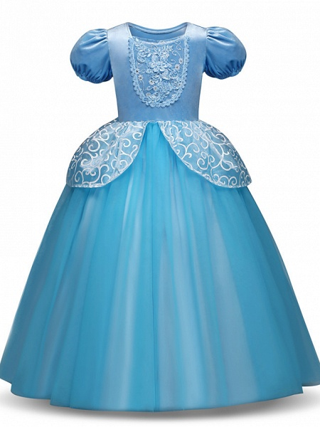 Princess Long Length Party / Birthday / Pageant Flower Girl Dresses - Tulle / Polyester Short Sleeve Jewel Neck With Tier / Appliques_1