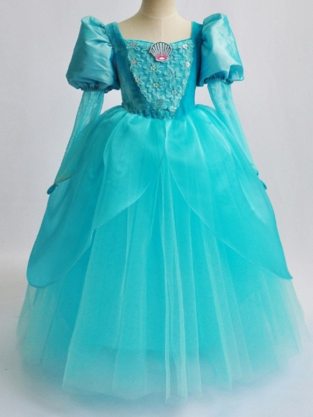 Ball Gown Floor Length Pageant Flower Girl Dresses - Polyester Long Sleeve Square Neck With Lace_2