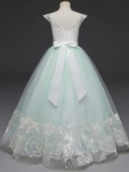 Princess Long Length Wedding / Party / First Communion Flower Girl Dresses - Lace / Tulle Cap Sleeve Jewel Neck With Belt / Crystals / Crystals / Rhinestones_3