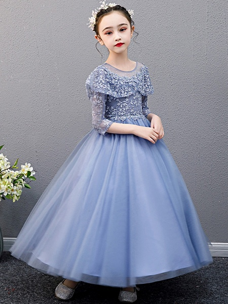A-Line Ankle Length Christmas / Birthday Flower Girl Dresses - Lace Sleeveless Jewel Neck With Beading_2