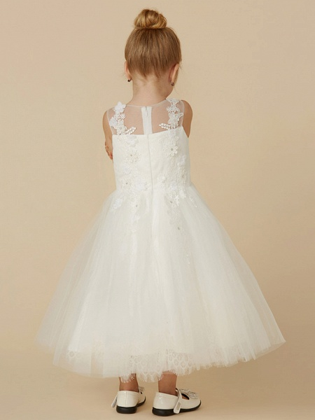 Princess Tea Length Wedding / First Communion Flower Girl Dresses - Lace / Tulle Sleeveless Illusion Neck With Beading / Appliques_2