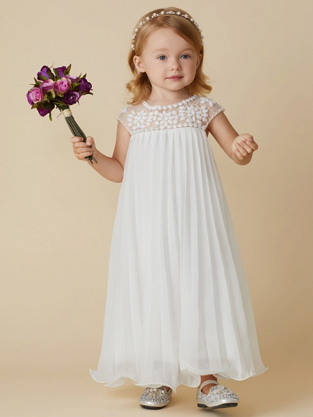 Sheath / Column Knee Length Wedding / First Communion / Holiday Flower Girl Dresses - Chiffon Short Sleeve Jewel Neck With Beading / Draping_1