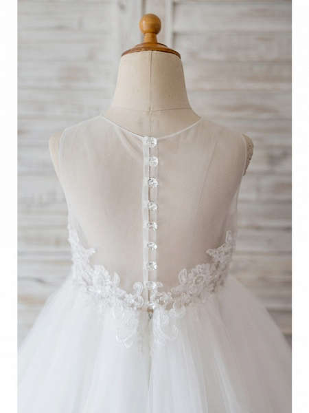 Ball Gown Knee Length Wedding / Birthday Flower Girl Dresses - Lace / Tulle Sleeveless Jewel Neck With Belt / Bow(S) / Buttons_4