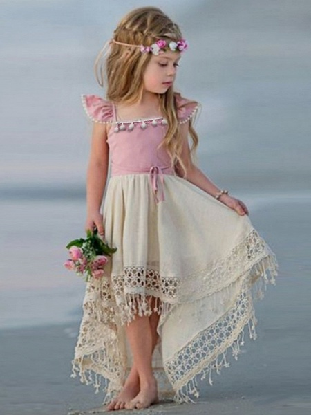 Ball Gown Floor Length Wedding / Party Flower Girl Dresses - Linen / Cotton Blend Short Sleeve Jewel Neck With Appliques_2