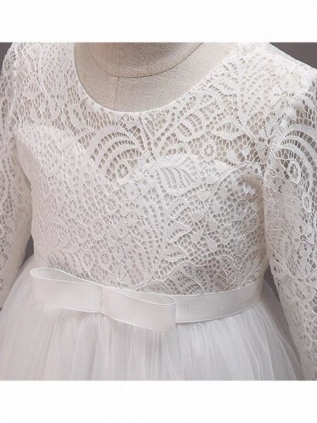Princess Floor Length Wedding / Party / Pageant Flower Girl Dresses - Lace / Tulle / Cotton Half Sleeve Jewel Neck With Lace / Belt_19