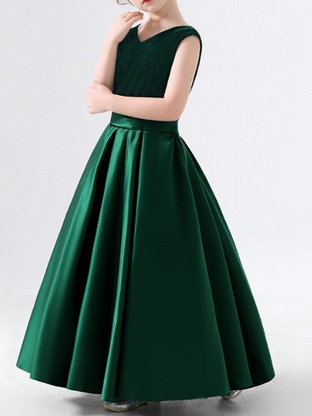 A-Line Floor Length Pageant Flower Girl Dresses - Polyester Sleeveless V Neck With Pleats_1
