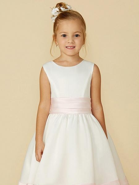 A-Line Tea Length Wedding / First Communion Flower Girl Dresses - Satin Sleeveless Jewel Neck With Sash / Ribbon / Bow(S)_6
