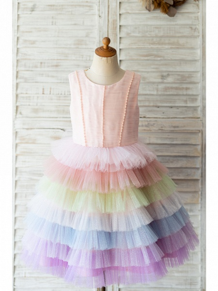 Ball Gown Knee Length Wedding / Birthday Flower Girl Dresses - Tulle Sleeveless Jewel Neck With Bow(S) / Pearls_1