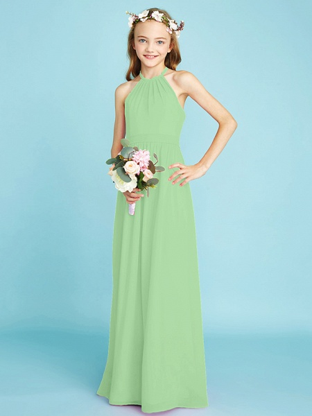 A-Line Halter Neck Floor Length Chiffon Junior Bridesmaid Dress With Sash / Ribbon / Natural_30