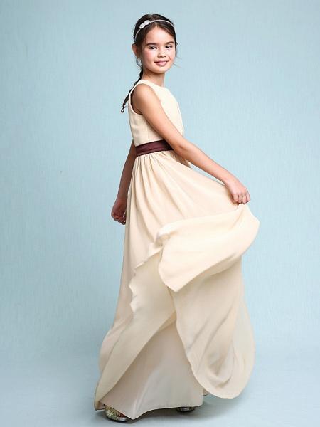 Sheath / Column Scoop Neck Floor Length Chiffon Junior Bridesmaid Dress With Draping / Natural_3