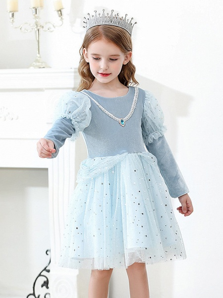Princess / Ball Gown Knee Length Wedding / Party Flower Girl Dresses - Tulle Long Sleeve Jewel Neck With Crystals / Paillette_6