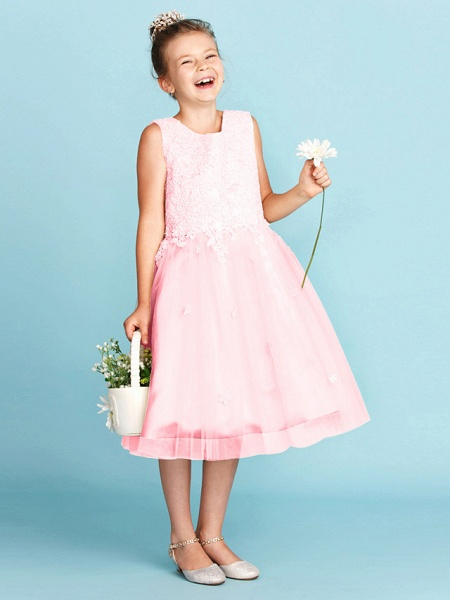 Princess / A-Line Jewel Neck Knee Length Lace / Tulle Junior Bridesmaid Dress With Bow(S) / Appliques / Wedding Party_22