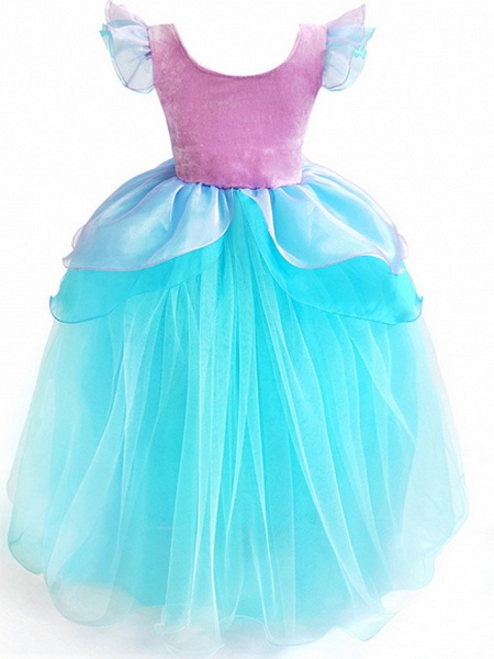 Ball Gown Floor Length Event / Party / Birthday Flower Girl Dresses - Poly Short Sleeve Scoop Neck With Cascading Ruffles / Color Block / Paillette_4