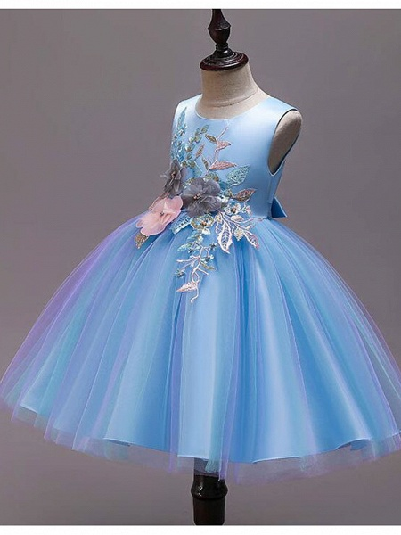 Princess Knee Length Wedding / Party / Pageant Flower Girl Dresses - Satin / Tulle / Cotton Sleeveless Jewel Neck With Belt / Embroidery / Appliques_9