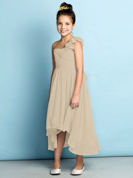 A-Line One Shoulder Asymmetrical Chiffon Junior Bridesmaid Dress With Criss Cross / Flower / Natural / Mini Me_24